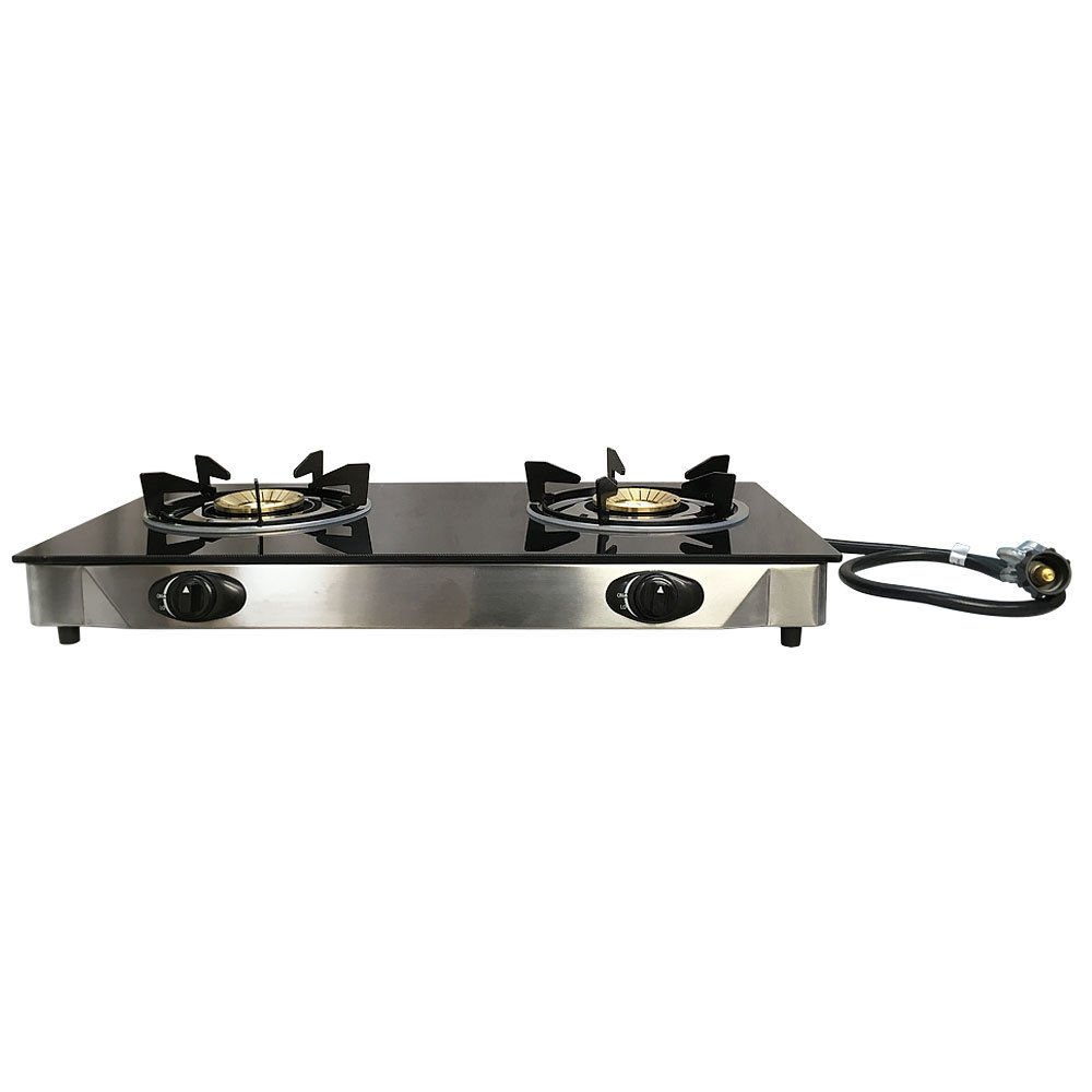 Double Steel Portable 2 Dual Burner Stove Range Propane Gas BBQ Tempered Glass Cooktop Generic