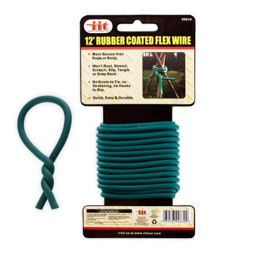 12' Support - Ind Tools 12-Ft Rubber-Coated Flex Plant Wire - Support Plant Vines, Stems & Stalks - Easy Cut to Size