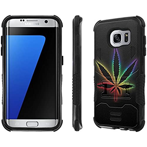 Galaxy S7 Edge Case, [NakedShield] [Black/Black] Combat Tough SHOCK PROOF with KICKStand - [Rainbow Weed] for Sales