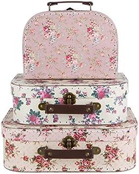 Sass & Belle Juego 3 Cajas de Almacenamiento, diseño Floral con Forma de Maletas Estilo Vintage
