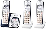 PANASONIC Expandable Cordless Phone System with Link2Cell Bluetooth, Voice Assistant, Answering Machine and Call Blocking - 3 Cordless Handsets - KX-TGD563A (Navy Blue/White)