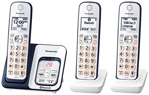 (PANASONIC Expandable Cordless Phone System with Link2Cell Bluetooth, Voice Assistant, Answering Machine and Call Blocking - 3 Cordless Handsets - KX-TGD563A (Navy Blue/White))