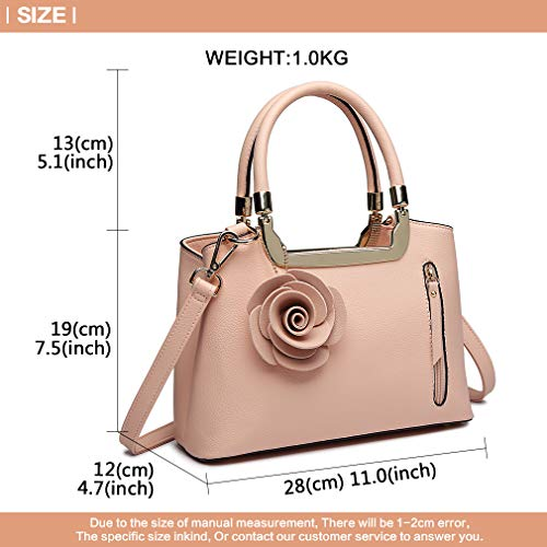 Trend Pink Handle Bag Shoulder Lulu Handbag Crossbody Bag Top Charm Leather Bag Elegant Pu Small Structured Miss Women Flower xwfRI0Uqx