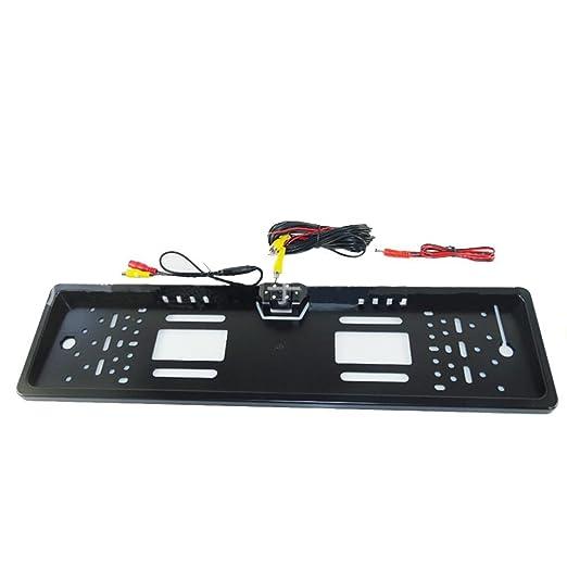 SODIAL CCD HD Camara de vision trasera del coche Camara universal inversa de respaldo Vision nocturna de marco de matricula europea con camara 4 LED de 170 ...
