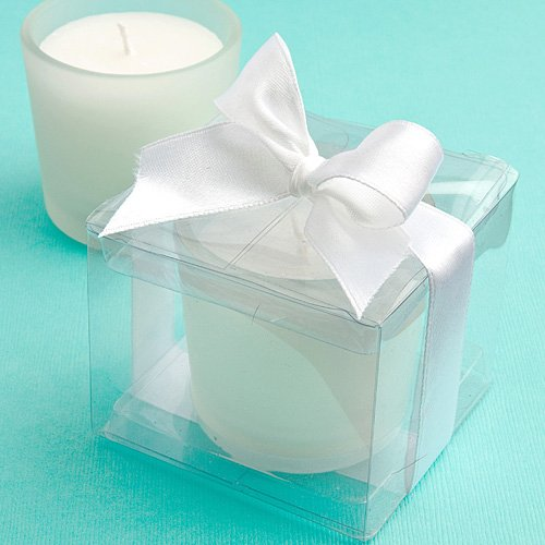 Frosted Glass Votive Wedding Favors (Glass Candle Favors in Clear Box - Set of 21)