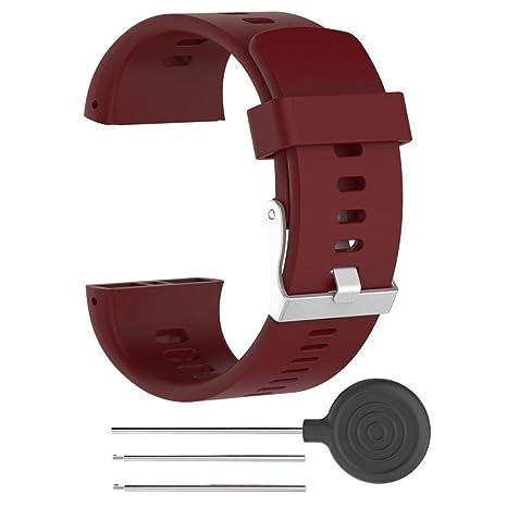 Armband für Polar V800, FNKDOR Silikon Gummi Band Ersatzarmband Uhrenarmband Für Polar Pulsuhr V800, 160-220MM (Rot)