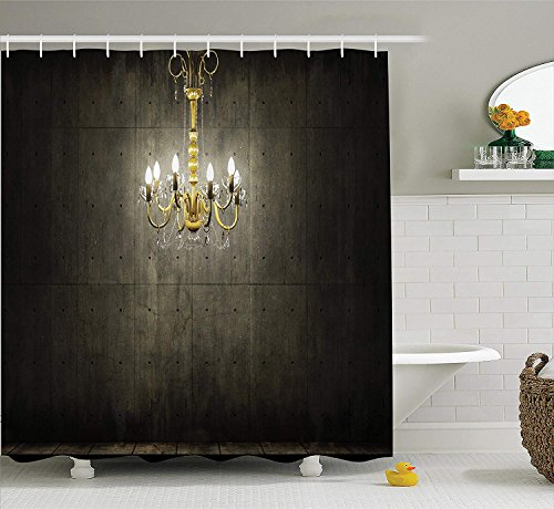 Grunge Shower Curtain Classic Chandelier in a Dark Gothic Wooden Room Vintage Style Room Picture Fabric Bathroom Decor Set with Hooks Grey Yellow 75
