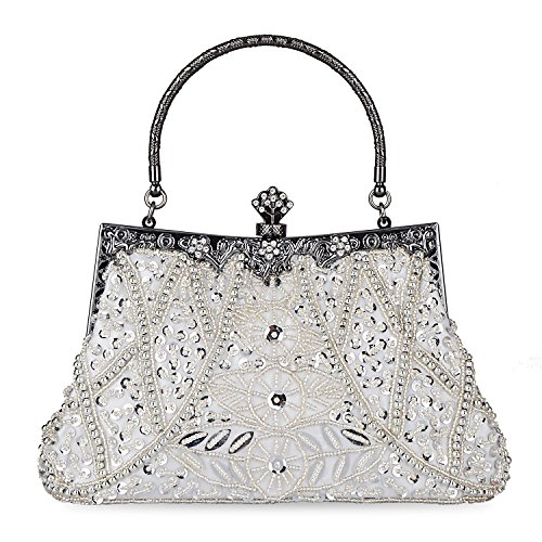 Kaever Women's Vintage Style Beaded and Sequined Evening Bag Wedding Party Handbag Clutch Purse (Silver)