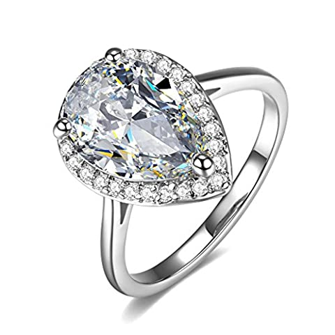 UMODE Teardrop Halo Pear Cut 4 Carat Cubic Zirconia CZ Engagement Wedding Ring for Women Size 7 (Cubic Zirconia Gold Rings)