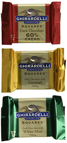 Ghirardelli Squares Assorted Medallion Chocolate Squares Gift Box, 7.35 oz. (Ghirardelli Carmel Squares)
