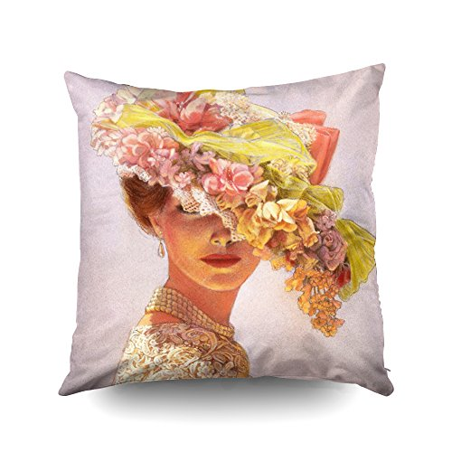 (Capsceoll elegant art decor floral hat victorian lady Decorative Throw Pillow Case 18X18Inch,Home Decoration Pillowcase Zippered Pillow Covers Cushion Cover with Words for Book Lover Worm Sofa Couch)