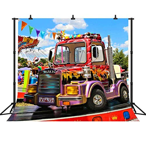 FHZON 10x7ft Amusement Park Train Photography Background Blue Sky White Clouds Backdrop Themed Party Wallpaper Photo Booth Props LSFH649