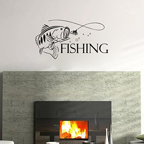 Textured Fish (Fishing Sign Words with Bass Fish Silhouette Vinyl Wall Decal Sticker Graphic)