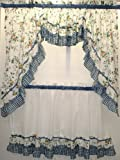Dreams Blue Floral with Gingham Check Kitchen Tier Curtain, 56