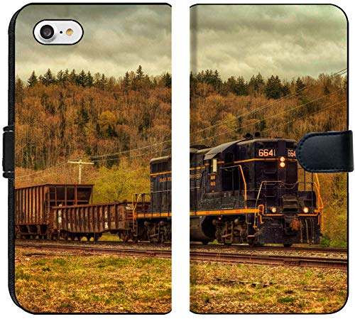 Apple iPhone 8 Flip Fabric Wallet Case Image of Train Transport Locomotive Engine Railroad Old Travel Smoke Transportation Railway Track Steam Metal rai