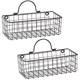DII Z02023 Rustic Farmhouse Vintage Hanging Wall Mounted Wire Metal Basket, Set of 2 Small, Black