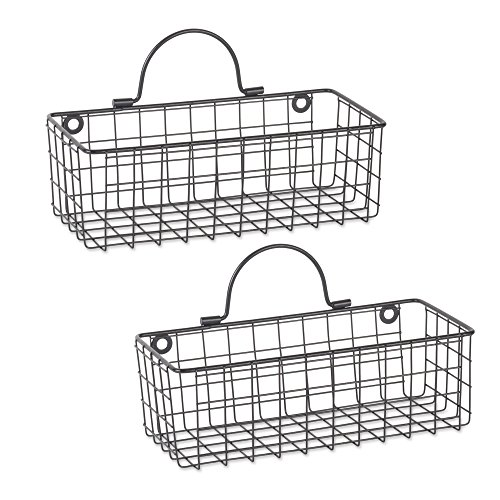 DII Rustic Farmhouse Vintage Hanging Wall Mounted Wire Metal Basket, Set of 2 Small, -