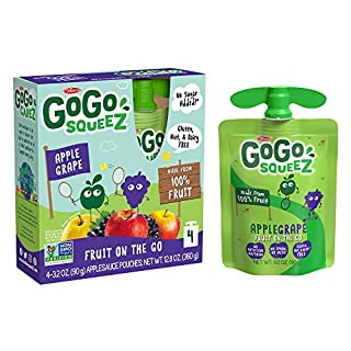 GoGo squeeZ Applesauce, Apple Grape, 3.2 Ounce (48 Pouches), Gluten Free, Vegan Friendly, Unsweetened Applesauce, Recloseable, BPA Free Pouches