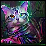 LLguz Little Cat 5D Embroidery Paintings Rhinestone Pasted DIY Diamond Paintings Part Round Embroidery Kits Arts Home Decoration Wall Decoration