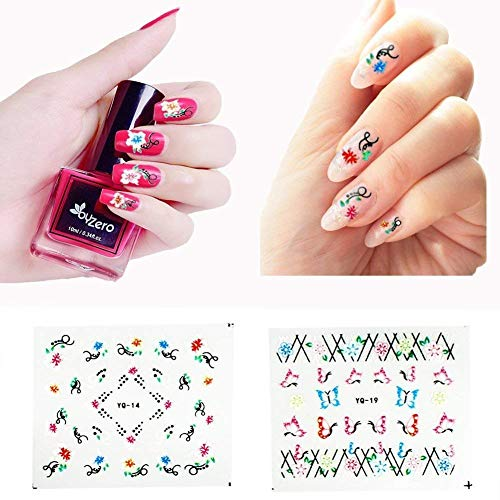 CINEEN 50 Sheets 3D Nail Sticker Nail Art Sticker Manicure Attractive Black + White + Colorful Fashion Accessories…