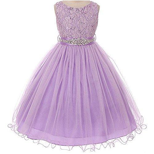 Big Girls Sleeveless Dress Glitters Sequined Bodice Double Layer Tulle Skirt Rhinestones Sash Flower Girl Dress Lilac - Size 10 - Sequined Bodice
