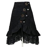 De la Mujer Steampunk Gótico Vestido clásico algodón faldas de encaje negro gitano hippie
