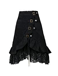 Women's Steampunk Gothic Clothing Vintage Cotton Lace Skirts Black Gypsy Hippie