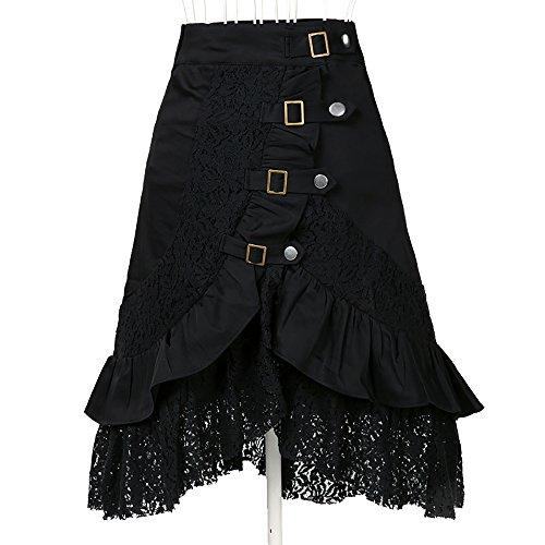Lace Steampunk Femme Skirt Noir Cotton Gothic Look Jupe Candow Vintage ITZq81w