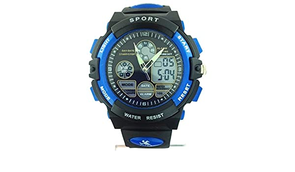 Amazon.com: Sports Watch Multi function Blue/Black Dial Black Silicone Rubber Band reloj de pulsera: sports: Watches