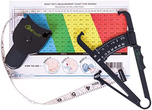 Care Touch Skinfold Body Fat Caliper Set, Measure Tape Included