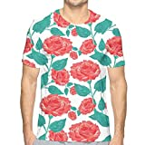 3D Printed T Shirts,Vintage Inspired Pastel Colored Painting of Roses Fascination Retro Love Story