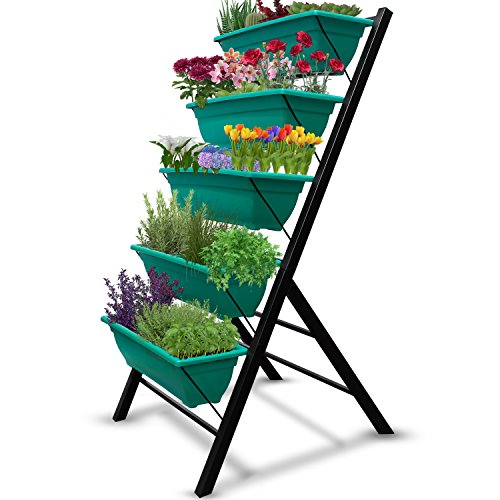 4-Ft Raised Garden Bed - Vertical Garden Freestanding Elevated Planters 5 Container Boxes - Good for Patio Balcony Indoor Outdoor - Cascading Water Drainage to Grow Vegetables Herbs Flowers (1-Pack) - Garden Planters Containers Urns