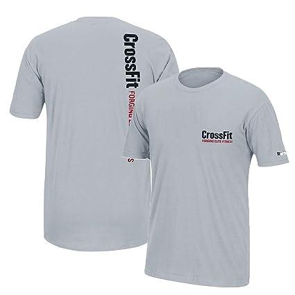 d5c97d67dd2 Reebok Crossfit Forging Elite Fitness Left Chest Logo Men's Grey Graphic  T-Shirt