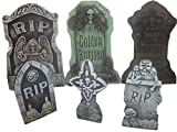 Bauer Pacific Set of 6 Realistic Reusable Foam Tombstones 3X (21'' x 14'') 3X (14'' x 7) Asst. Halloween, Props, Graveyards, Haunted House, Yard Decorations and Accessories