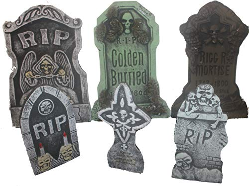 Bauer Pacific Set of 6 Realistic Reusable Foam Tombstones 3X (21'' x 14'') 3X (14'' x 7) Asst. Halloween, Props, Graveyards, Haunted House, Yard Decorations and Accessories by Bauer Pacific