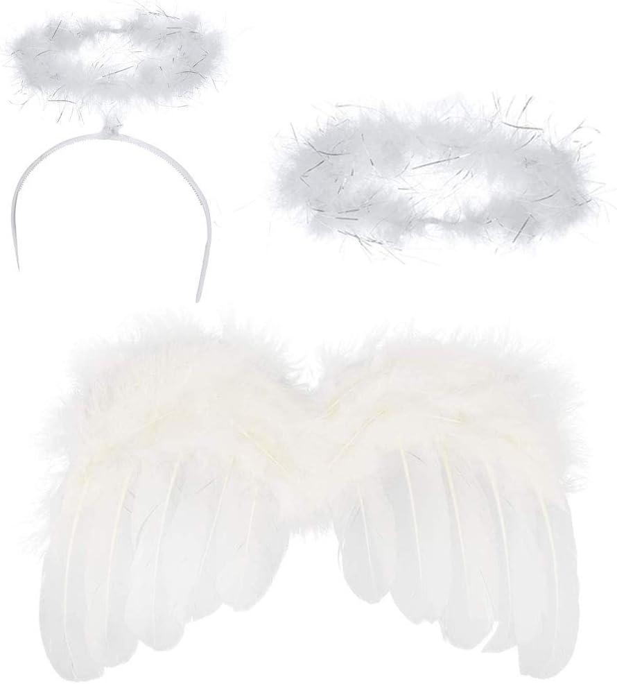 Disfraz angel niña conjunto incluye 1 alas de angel bebe, 1 halo,1 corona angel Bebé lindo ángel de plumas alas fotografía traje prop foto prop con elástico pétalas de diamantes flor diadema(3 PCS)