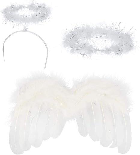 Disfraz angel niña conjunto incluye 1 alas de angel bebe, 1 halo,1 ...