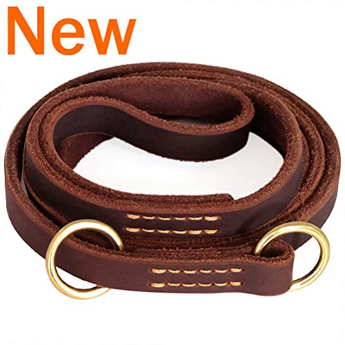 """Fairwin Leather Dog Leash 6 Foot (5.6 Foot) - Leather Slip Collar Dog Leash - Genuine Handmade 6 ft Leather Leashes for Medium or Small Dog Training and Walking No Slip Leash (5/8"""" x 5.6 Foot) ()"""