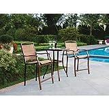 3 Piece Bar Height Bistro Table Chair Set Patio Furniture Outdoor New Deck Backyard