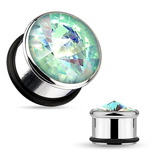 MoBody One Pair Aqua Crystal Centered Single Flared Surigical Steel Ear Gauge Plug Tunnels 2G-00G (00G (00g Tunnels Body Jewelry)