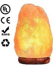 Lámpara de Sal Himalaya Luz Nocturna/Brillo Cortada a mano Roca de Sal Rosa del Himalaya Lámpara de Roca Cable UL con Base Genuina de Palo de Rosa/Foco y Atenuador actualizado de Toque Control de Encendido Focos Cristal de 15 watts