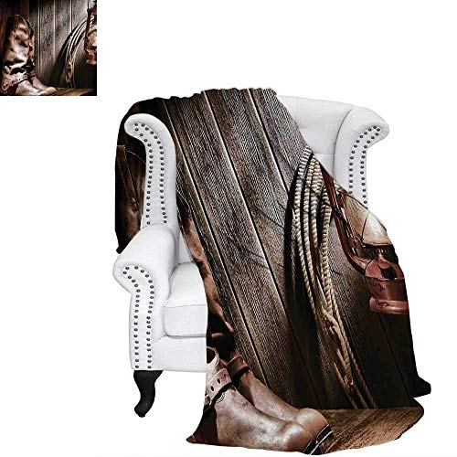 CHASOEA Western Blanket Dallas Cowboys and Lantern on a Bench in Vintage Ranch Nostalgic Folkloric Photograph Digital Printing Blanket 80