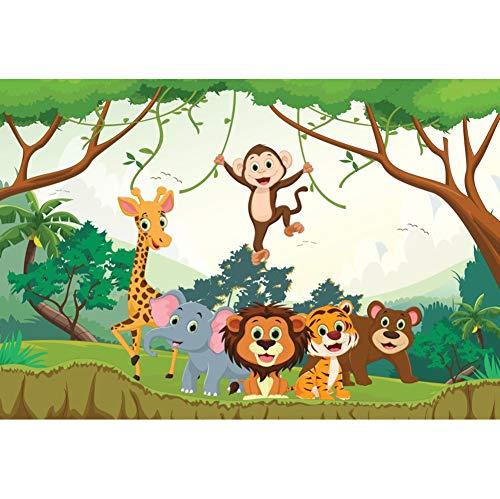 Leowefowa 5x3FT Vinyl Photography Backdrop Cartoon Safari Jungle Animals Zoo Park Kids Birthday Baby Shower Safari Background Event Party Decoration Portrait Photo Shoot Studio Photo Booth Props