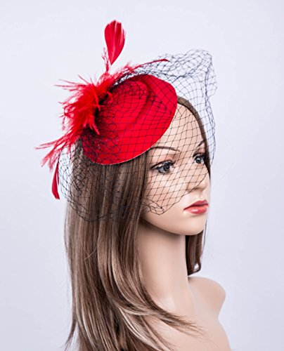 Cizoe Fascinators Hats 20s 50s Hat Pillbox Hat Cocktail Tea Party Headwear with Veil for Girls and Women(B-Red) by Cizoe (Image #1)