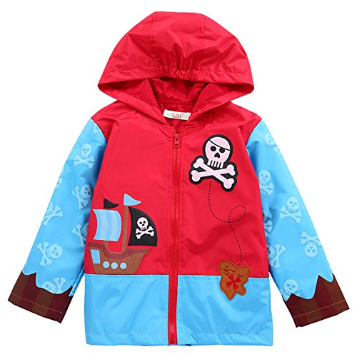 LZH Baby Girls Boys Waterproof Raincoat Windbreaker Hooded Bomber Jacket (90(for Age 1-2Y), Light ()