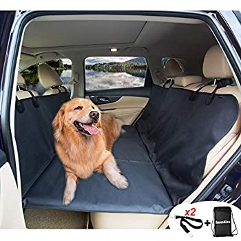 Image of AMOCHIEN Backseat Extender for Dogs - Back Seat Pet Bridge, Dog Hammock Covers Entire Back Seat, Rear Pet Foam Platform Divider Barrier Water Resistant | Up to 100 lbs | Universal Fit Black Pet Supplies