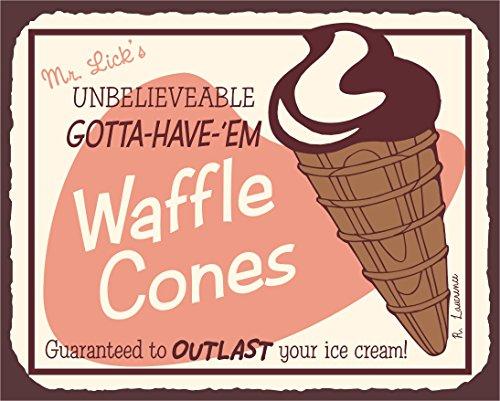 Waffle Cones Vintage Metal Art Ice Cream Shop Retro Tin Sign