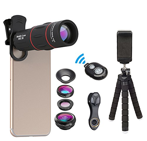 Apexel Phone Photography Kit-Flexible Phone Tripod +Remote Shutter +4 in 1 Lens Kit-High Power 18X Monocular Telephoto Lens, Fisheye, Macro & Wide Angle Lens for iPhone X 8 7 6 Plus Samsung Smartphone from Apexel