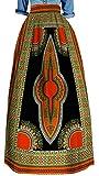 SYTX Womens Plus Size Retro Africa Printed Dashiki Big Hem Long Swing Skirts 18 M
