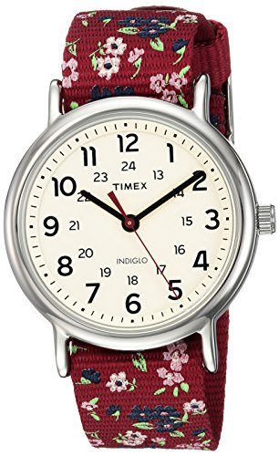 Timex Women's TW2R29700 Weekender Violet Floral Reversible Nylon Slip-Thru Strap Watch